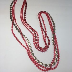 Vintage pink multi strand beaded long necklace
